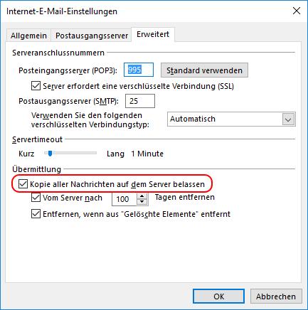 Kopie aller Nachrichten auf dem Server belassen