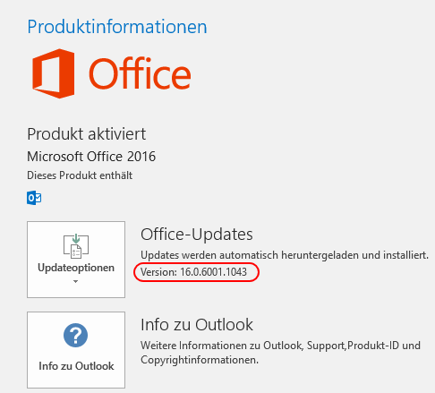 Buildversion in Outlook