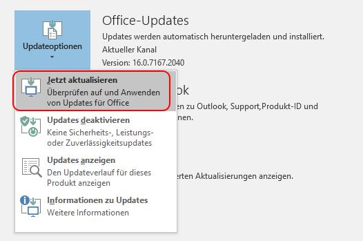 Outlook 2016 auf Updates prüfen