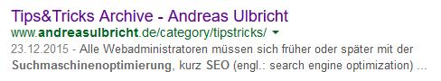 Suchergebnis bei Google