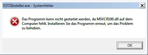 Das Programm kann nicht gestartet werden, da MSVCR100.dll auf dem Computer fehlt.