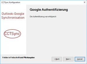 Google Authentifizierung erfolgreich