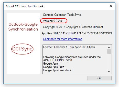 CCTSync Aboutbox Version