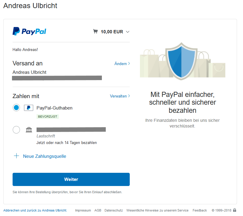 PayPal Zahlung bestätigen