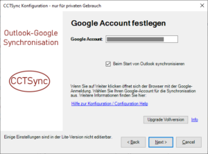 Google Account festlegen und Upgrade