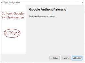 Google Konto Authentifizierung erfolgreich