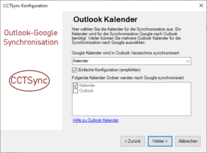 Ordner für Outlook Kalender auswählen
