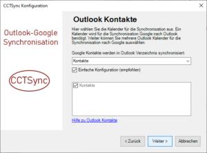 Ordner für Outlook Kontakte auswählen
