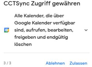 Zugriff auf Google Kalender gewähren.