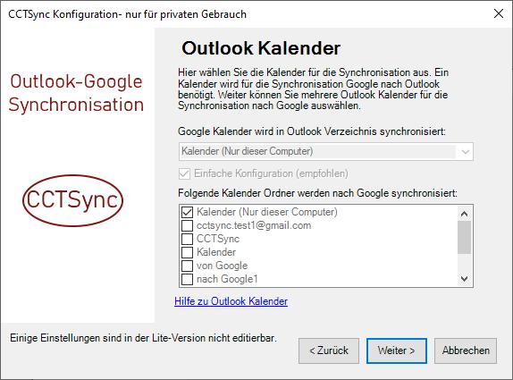 Auswahl der Outlook Kalender