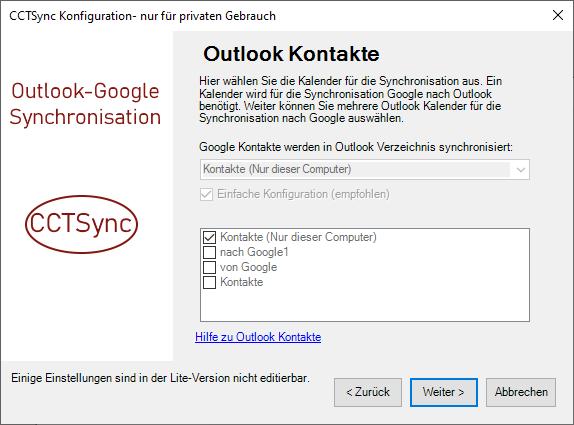 Auswahl der Outlook Ordner für Kontakte,