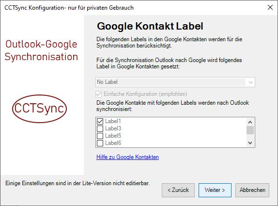 Auswahl der Google Label für die Synchronistion.